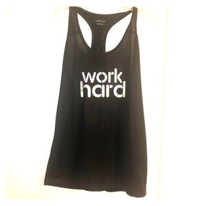 "Black work out tank top ""Work Hard"""